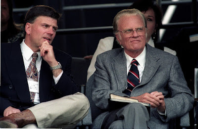 Billy Graham (on the right) and his son Frankly. Billy taught the straightfoward gospel.