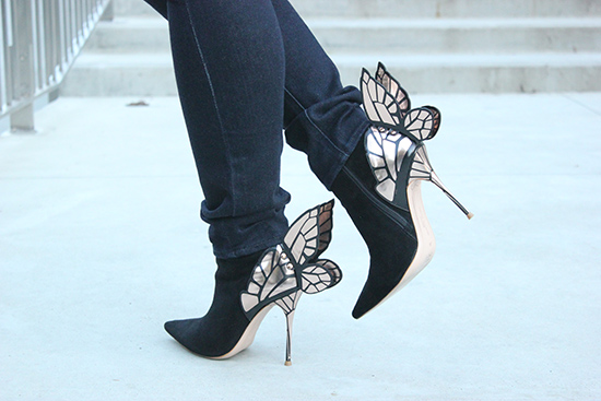 Sophia Webster Chiara Black Suede Butterfly Booties Outfit Inspiration