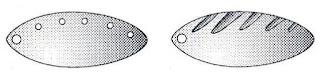Лепестки вращающихся блёсен с насверленными отверстиями и проточками.