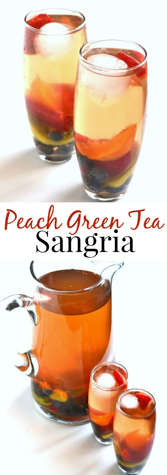 Peach Green Tea Sangria is easy to make and is customizable with your favorite kinds of fruit. Cool down with a iced glass of this fun beverage! www.nutritionistreviews.com