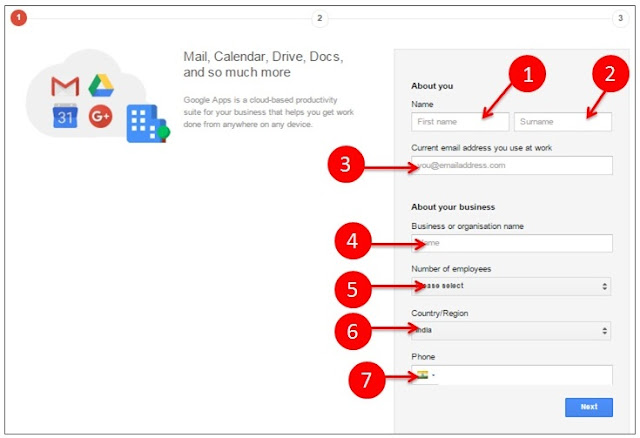 Google apps step 1 sign up process