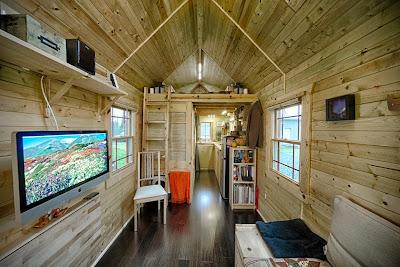 Sala de estar en cabaña