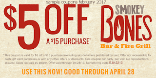 Smokey Bones coupons for february 2017