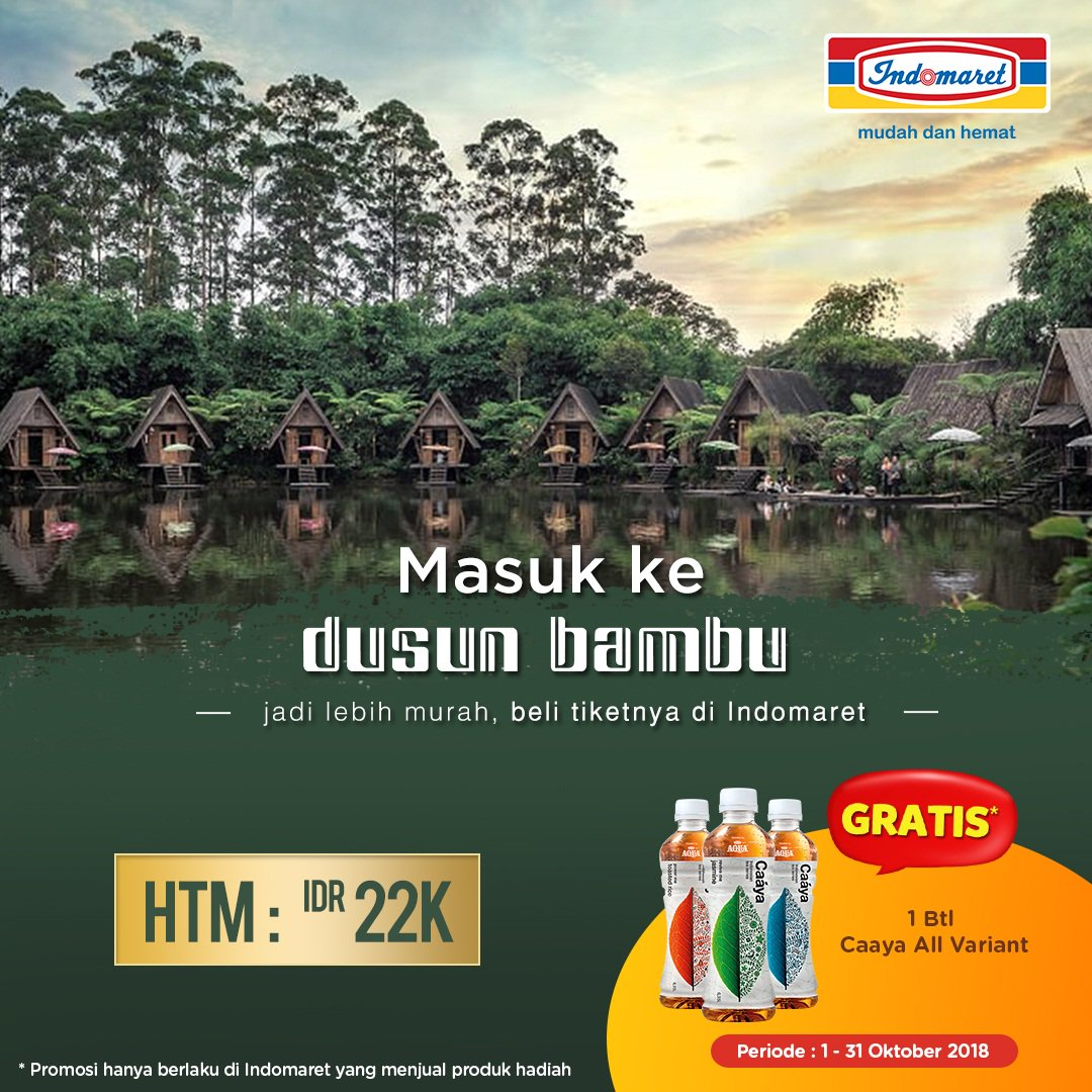 Indomaret - Promo Beli Tiket Dusun Bambu Gratis 1 Btl Caaya (s.d 31 Okt 2018)