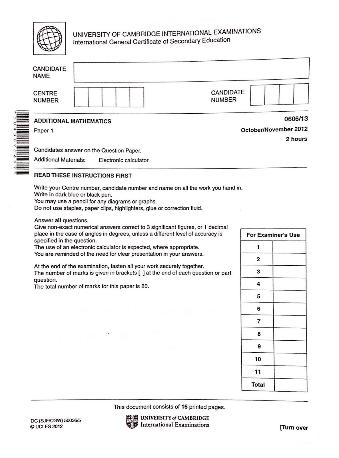 Igcse Add Maths Working Answers 13 Paper 1 Oct Nov