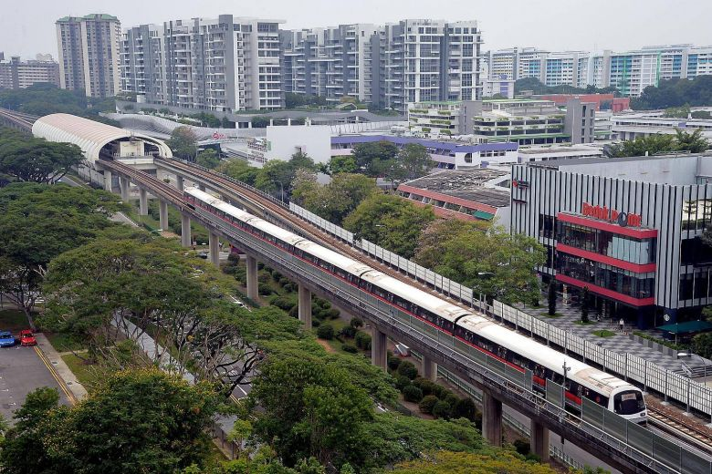 A file photo of a train leaving Bedok MRT station.