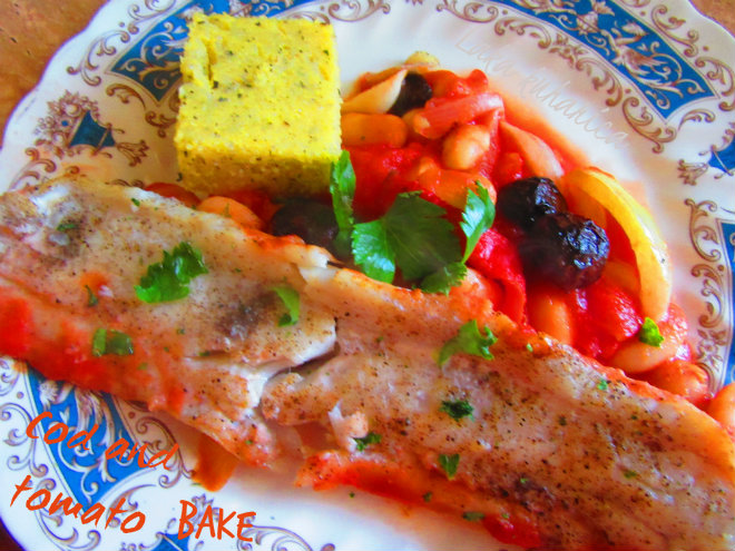 Cod and tomato bake by Laka kuharica: simple everyday fish supper with tomato sauce, olives and beans.