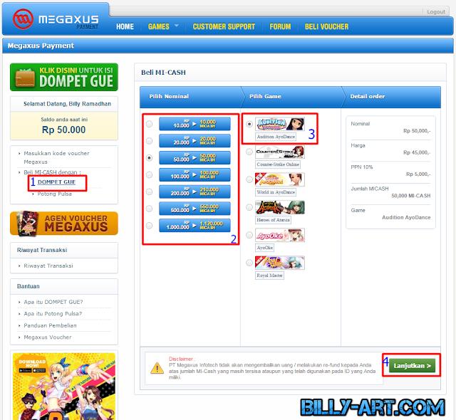 Transaksi Mi-Cash Dompet Gue ke Game favorit Megaxus kalian