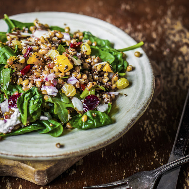 Balsamic Lentil and Quinoa Salad with Fruit