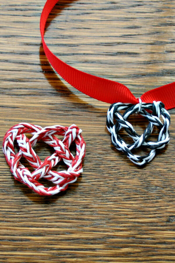 Woven heart knots made with red and white and black and white paper twine