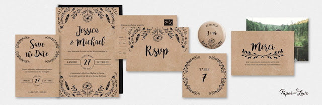 Faire-part collection folk kraft Paper and Love blog mariage www.unjourmonprinceviendra26.com