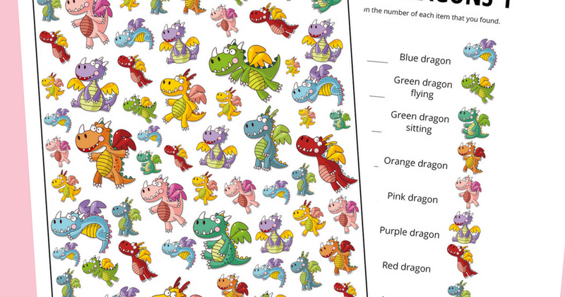 graphic regarding Dragons Printable identified as Dragon Themed I Spy Activity Totally free Printable for Youngsters And