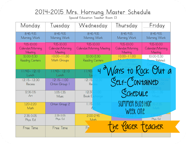 4 ways to rock out a self contained schedule the eager for Special education schedule template