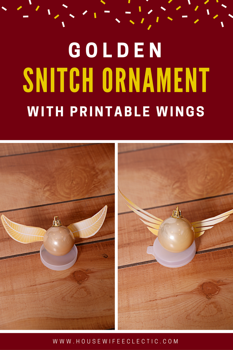 photograph about Golden Snitch Printable identify Golden Snitch Ornament with printable wings - Housewife Eclectic