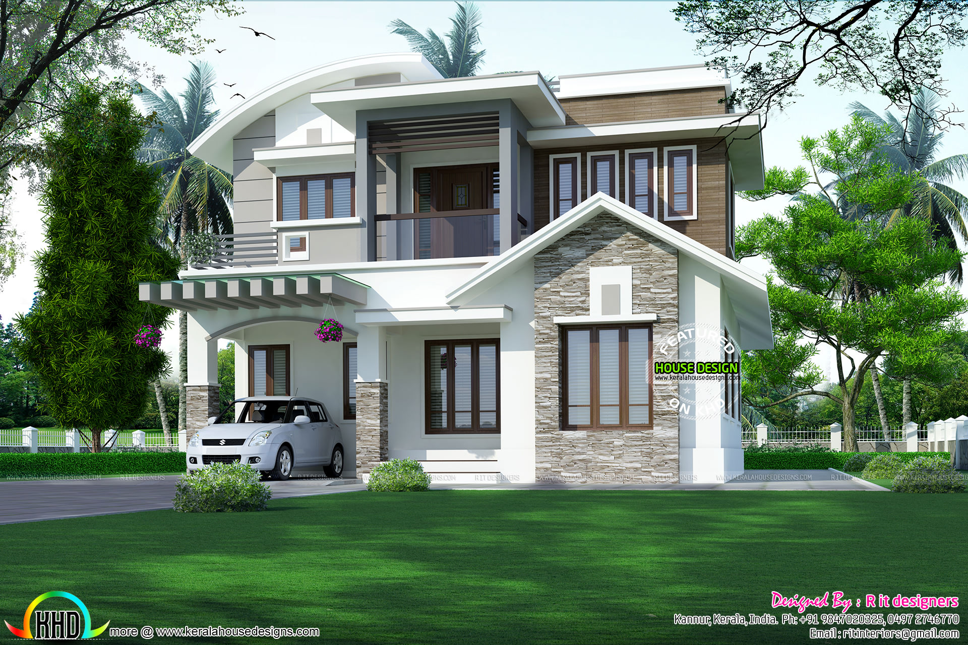 Contemporary kerala home design 2155 sq ft kerala home for Contemporary model homes