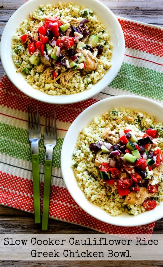 Slow Cooker Cauliflower Rice Greek Chicken Bowl found on KalynsKitchen.com