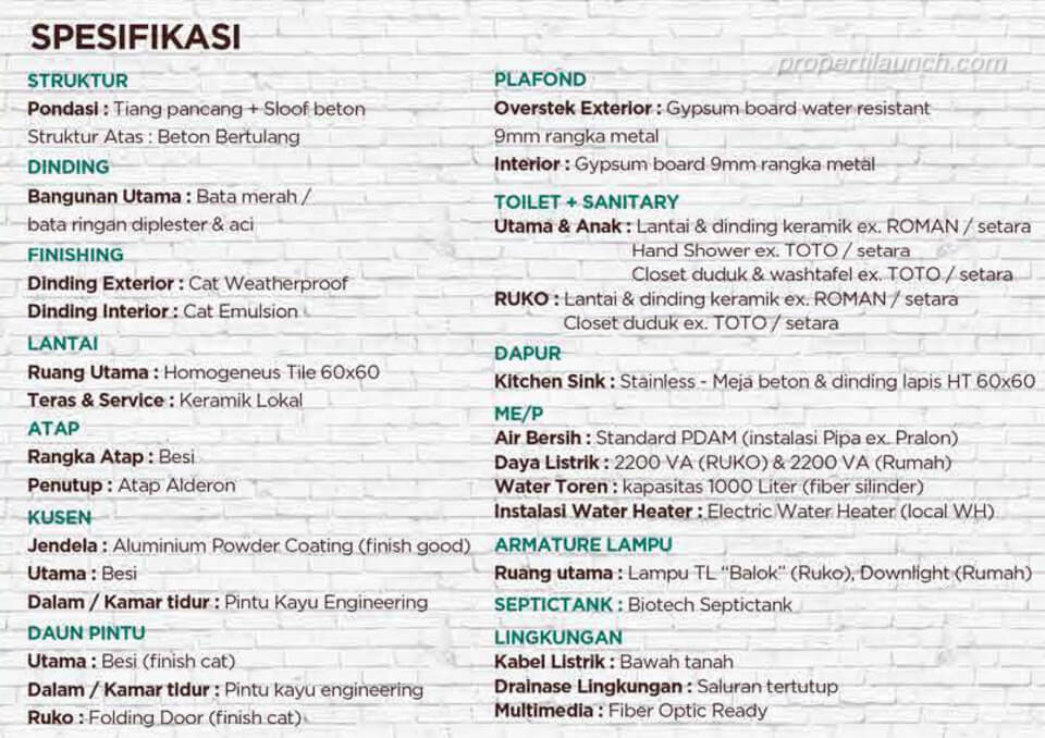 Spesifikasi Ruko Gaia by Ayodha