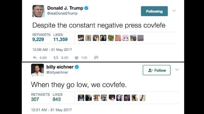 'Covfefe' trends on social media after Trump shares unfinished tweet with typo
