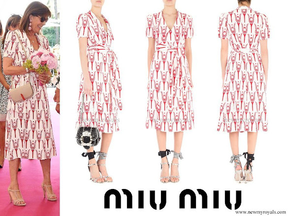 Princess Caroline wore MIU MIU printed sable dress