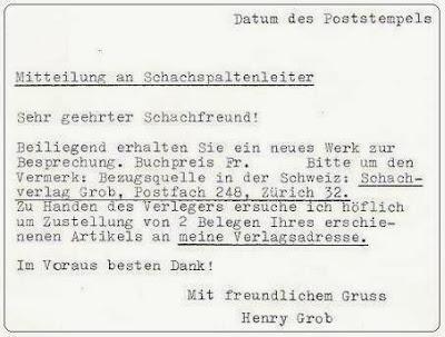 Prólogo de Henry Grob en el libro del Torneo Internacional de Ajedrez Zúrich 1961