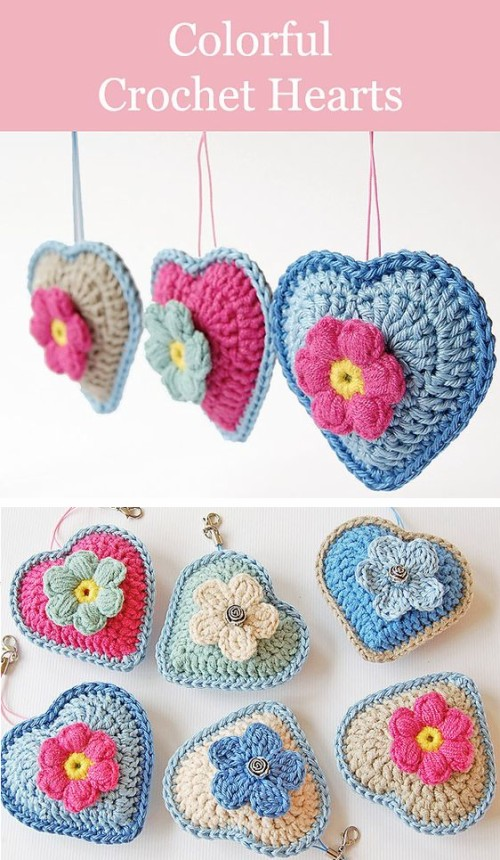 Colorful Crochet Hearts - Tutorial