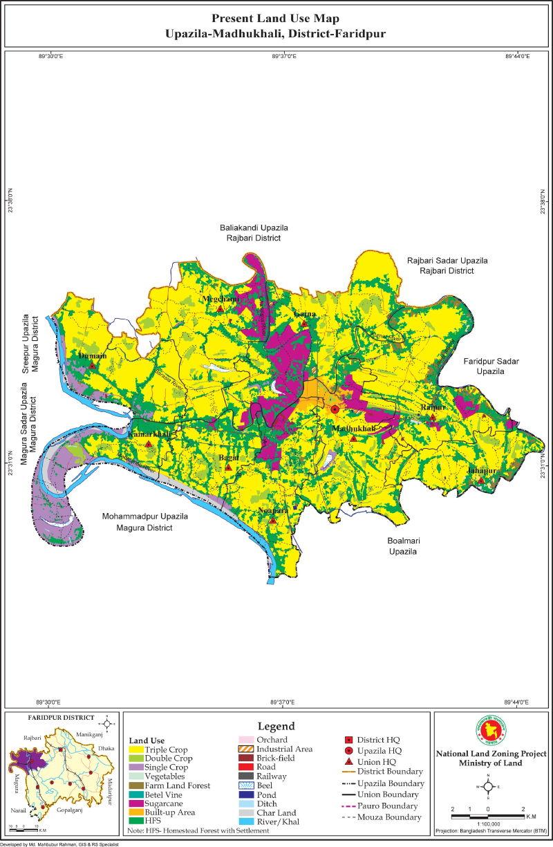 Madhukhali Upazila Mouza Map Faridpur District Bangladesh