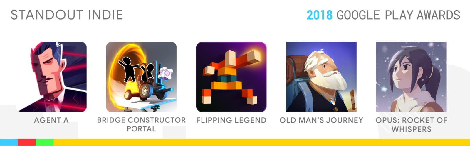 Standout Indie: Agent A, Bridge Constructor Portal, Flipping Legend, Old Man's Journey, OPUS: Rocket of Whispers