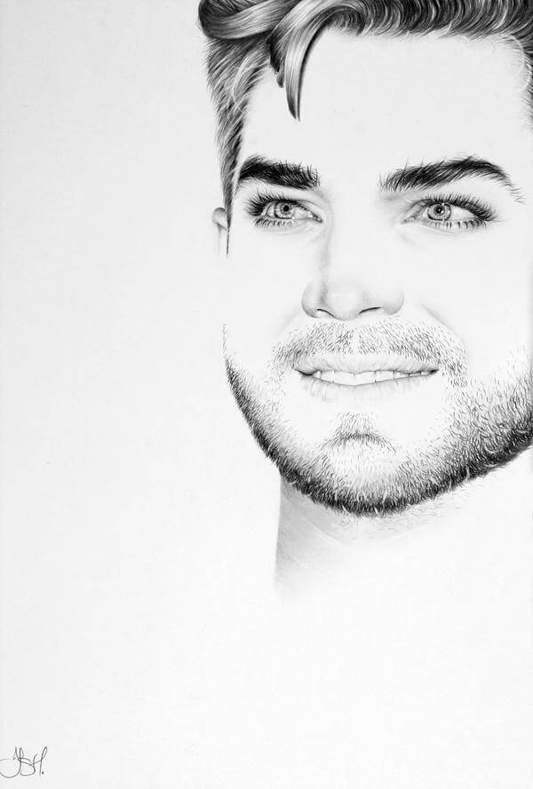 11-Adam-Lambert-Commission-Ileana-Hunter-Drawings-of-Minimalist-Realism-Meets-Celebrities-www-designstack-co