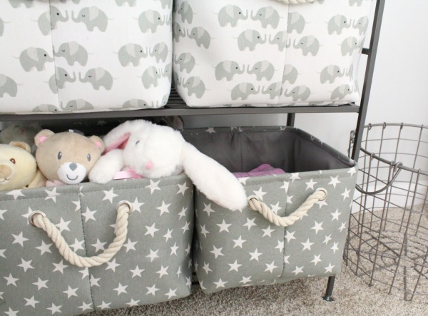 Gray white and light pink nursery for a baby girl- Canvas and rope gray storage baskets with stars and elephants