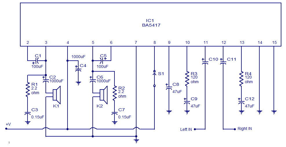 stereo power amplifier circuit based on ba5417 circuits projects. Black Bedroom Furniture Sets. Home Design Ideas
