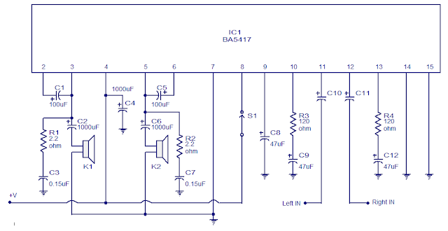Stereo Power Amplifier Circuit based on BA5417
