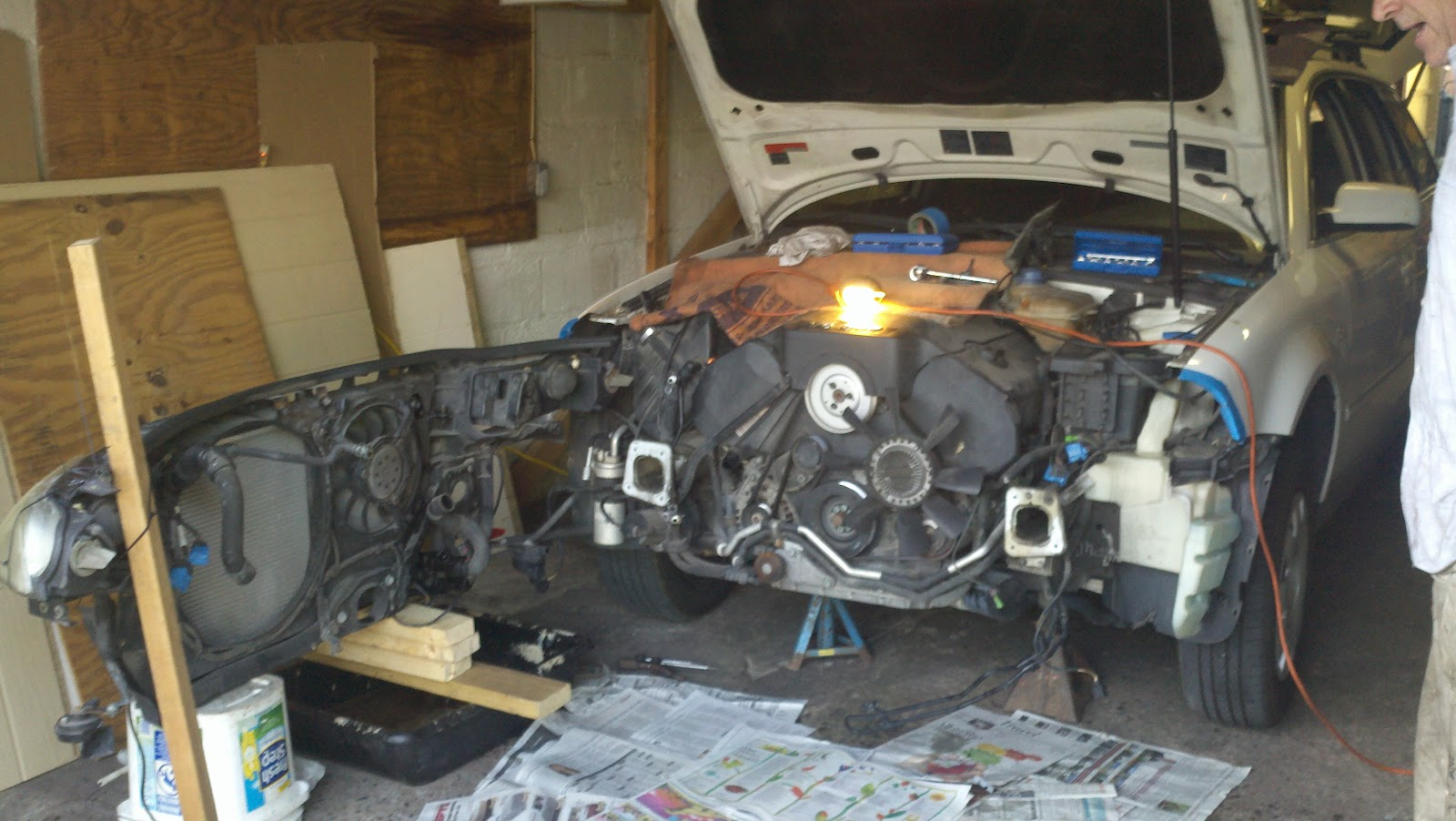a couple of friends helped to change the timing belt valve cover gaskets and a plethora of tensioners pulleys etc on my 2002 vw passat wagon v6 awd  [ 1600 x 902 Pixel ]