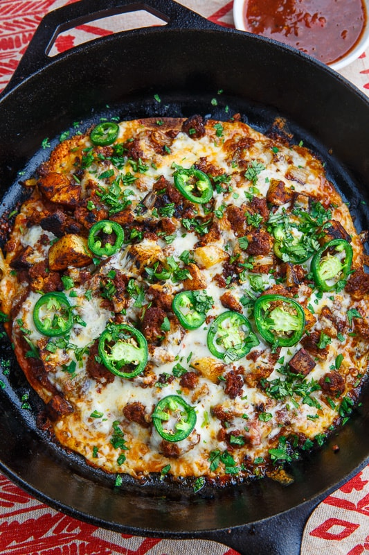 Crispy Chorizo and Potato Tortilla Skillet Pizza