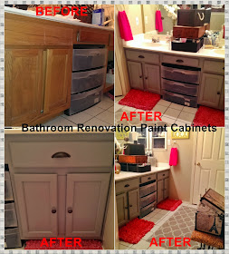 Meg Made Creations Paint Bathroom Cabinets Diy How To Paint Over Stained Cabinets