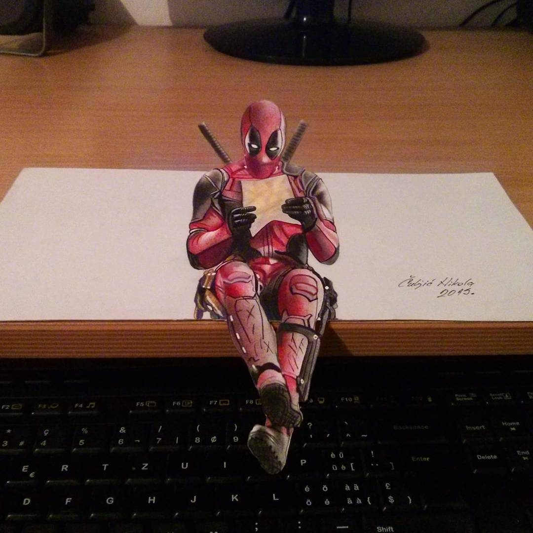 02-Deadpool-Nikola-Čuljić-2D-Realistic-Drawings-that-look-3D-and-a-Video-www-designstack-co