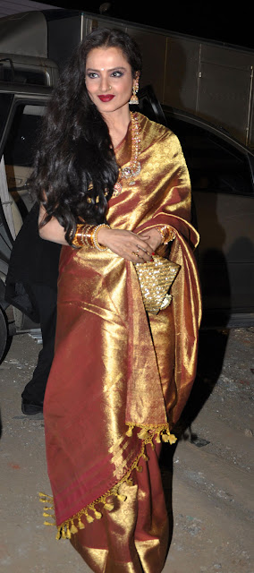 Women S World Rekha In Golden Color Kanchi Saree