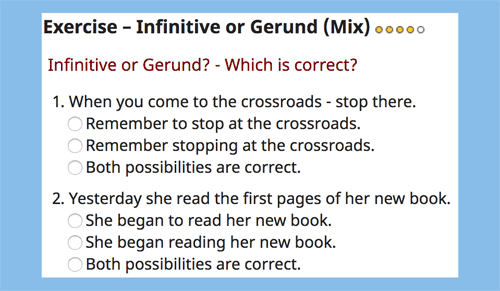 Infinitive or gerund online multiple choice exercises