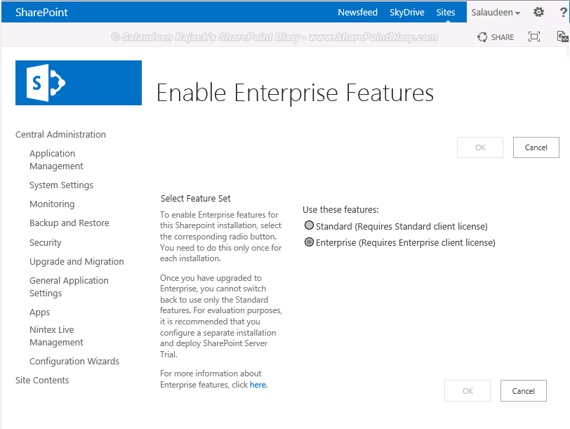 Determine the Installed SharePoint Edition: Standard or Enterprise