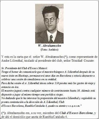 Carta del representante de Andor Lilienthal enviada en 1934