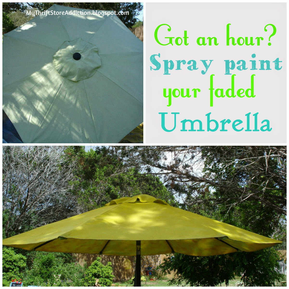 Spray painted patio umbrella