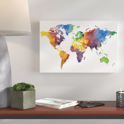 Watercolor Map Of The World silhouette by artist Irina Sztukowski