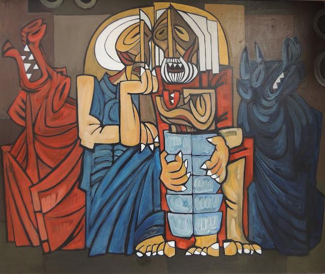 Antonio garcía Patiño natividad óleo sobre lienzo cubismo