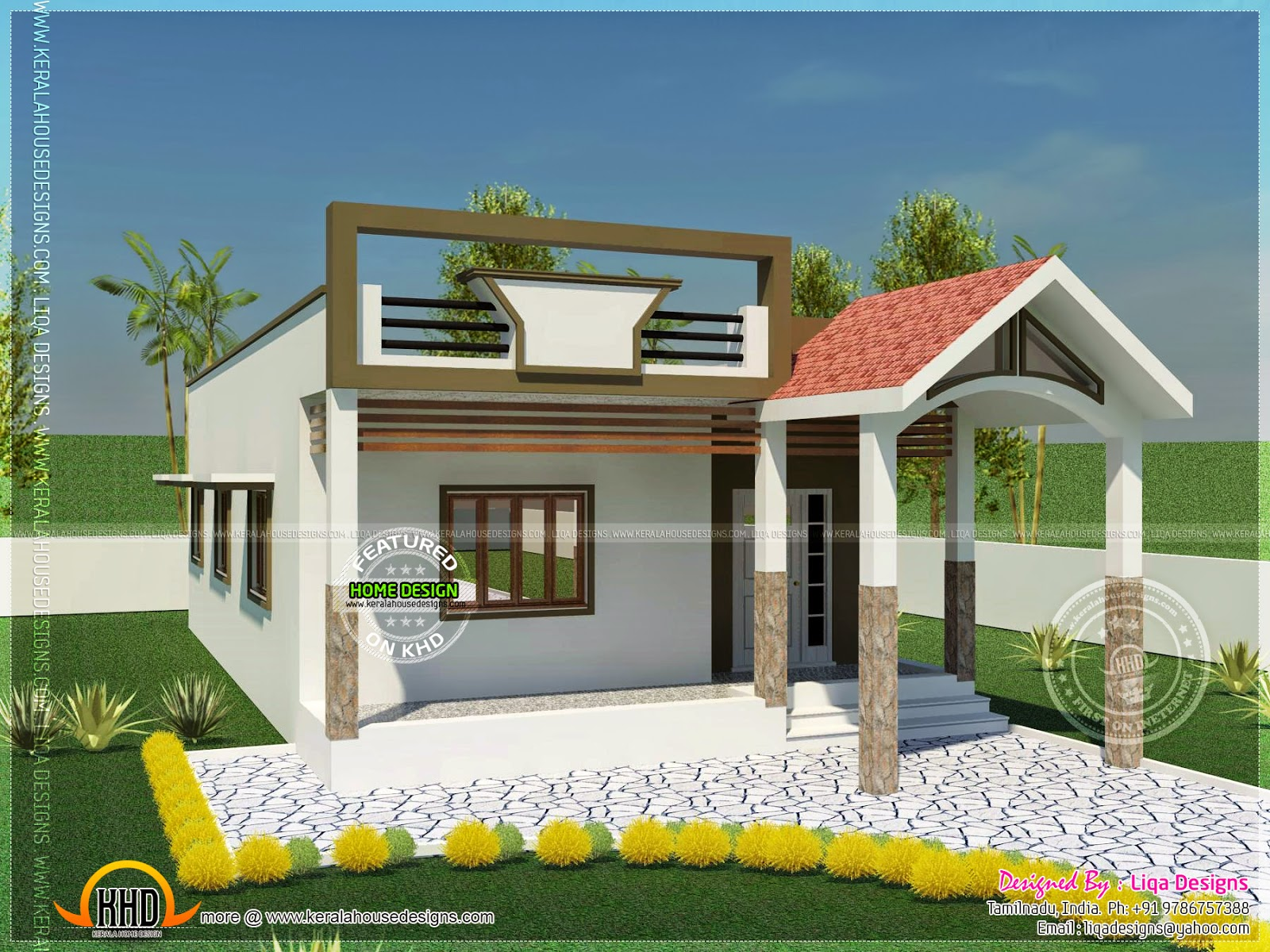 740 square feet single storied house kerala home design for Indian small house design 2 bedroom