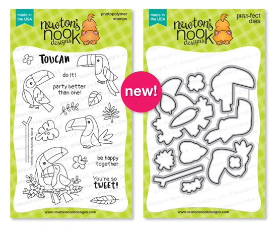 Toucan Party | 4x6 photopolymer stamp set & coordinating die set by Newton's Nook Designs
