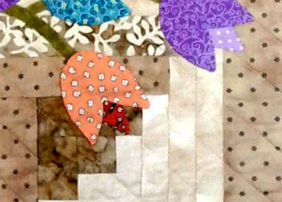 tulip basket mini quilt applique pattern detail
