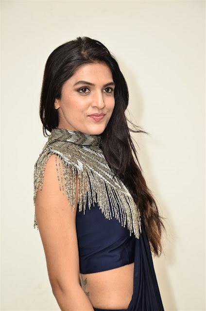 Ritu Biradar Sexy Image in Blue Saree