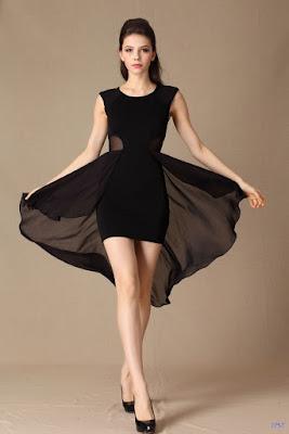 Vestidos cortos con cola