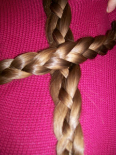 Three strand braid and four strand basket plait.