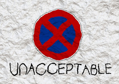 Crumpled note with 'X' sign, and 'unacceptable' written in lock capitals