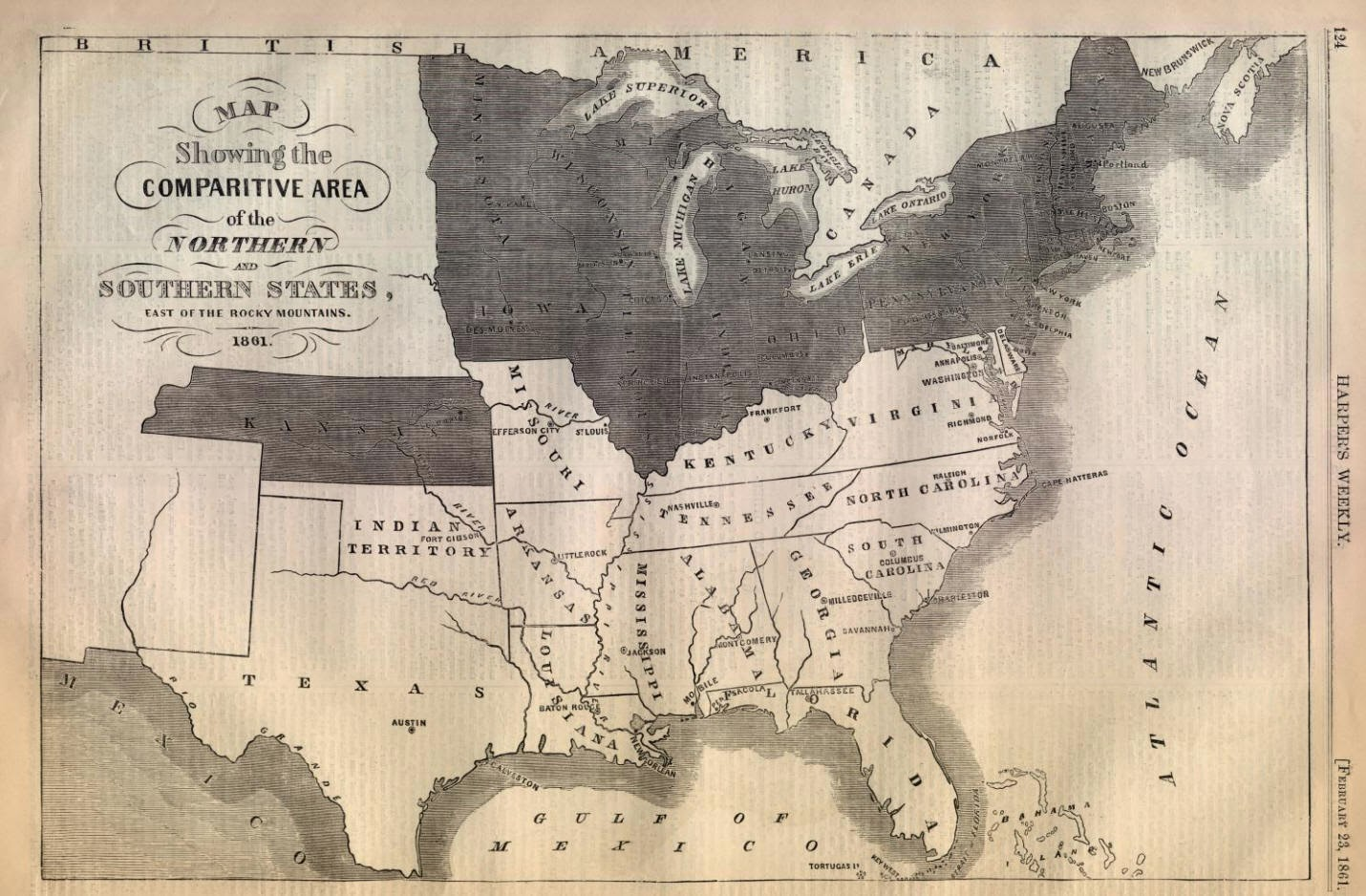 Us Map 1861 Northern And Southern States